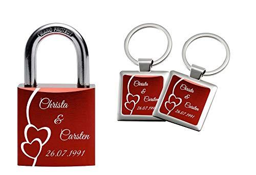 Gravurenalarm® Liebesschloss Geschenkset inkl. 2 Schlüsselanhängern/Paaranhängern in gleichem Design - verschiedene Farben - Rot - Blau - Grün - Schwarz - Lila - Türkis - Pink