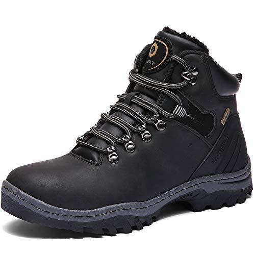 Sixspace Winterstiefel Warm Gefütterte Winterschuhe Outdoor Schneestiefel rutschfest Winter Boots Wanderschuhe für Herren Damen, Schwarz, 45 EU