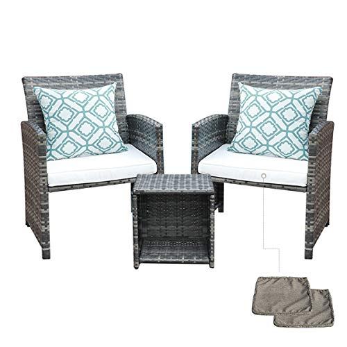 SUNDO Balkonset aus PolyRattan, Balkonmöbel Set mit Sitz- und Rückenkissen, Gartenset mit Sessel & Tisch, Sitzgruppe für 2 Personen, Rattanset inkl. 2 Kissenbezüge als Ersatz (Grau)