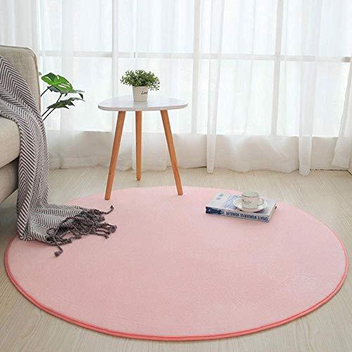 HaoLi Alfombra mullida de Piel de Cordero, Alfombra Redonda para Dormitorio, Alfombrilla para decoración del hogar-Pink_80cm, Lindas alfombras peludas para Dormitorio