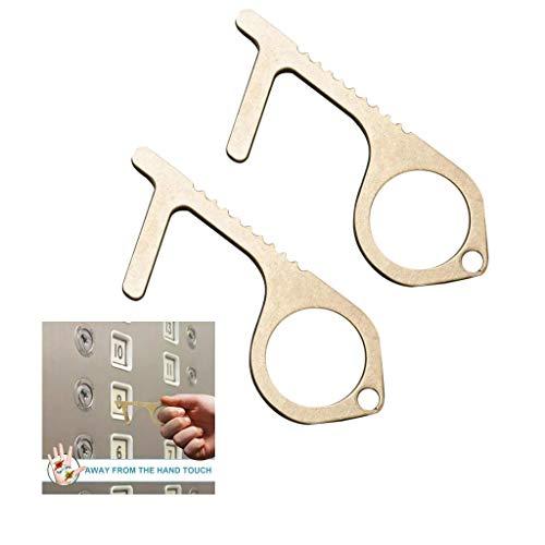 DTgirl Contactless EDC Door Opener, Brass No-Touch Door Opener, Easy to Carry, Key Tool for Outdoor Public Door Handle Touchscreen Button, Keep Hands Clean (2)