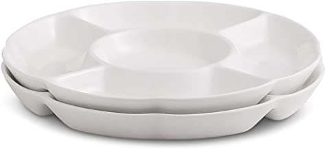 Chip & Dip Serving Set Porcelain Divided Serving Platter/Tray Perfect for Snack 9.4-inch White Small Dish, Set of 2 (9.4inch)