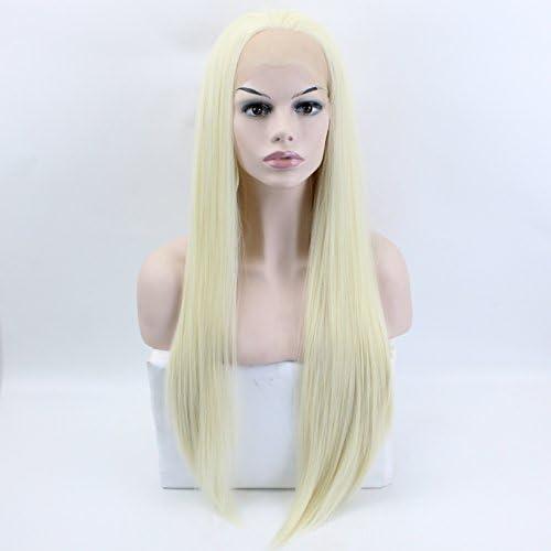 Wiged Random Geteilt Vordere Spitze Langes Glattes Haar Natürliche Blondine Perücke Handgefertigt 70 Cm, Goldene Lange Glatte Haare (Senden Doppelseit