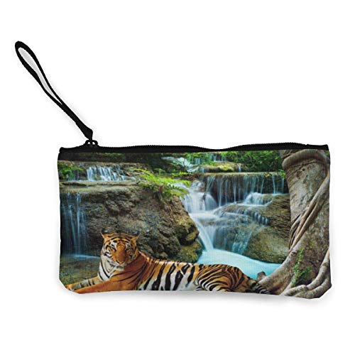 XCNGG Geldbörsen Shell Aufbewahrungstasche Tiger and Waterfall Coin Purse Canvas Change Pouch Cute Fashion Wallet Bag Small Zipper Key Holder for Shopping Outdoor Activities