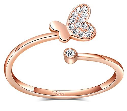 CPSLOVE Anillo mariposa de mujer niña, de plata 925, anillo mariposa, oro rosa, anillo de cola,...
