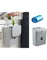 Lunies 2.4ガロン 堆肥用ゴミ箱 吊り下げ 小さな蓋付き キッチンキャビネット ドア/カウンタートップ/シンク下/ベッドルーム/バスルーム/食器棚用 グレー