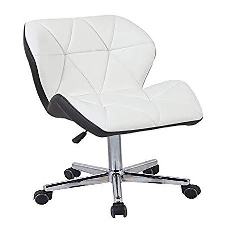 Ergonomische bureaustoel (zonder armleuningen) verstelbare computerstoel met verstelbare hoogte rugleuning met synthetische lederen rugleuning (wit en zwart)