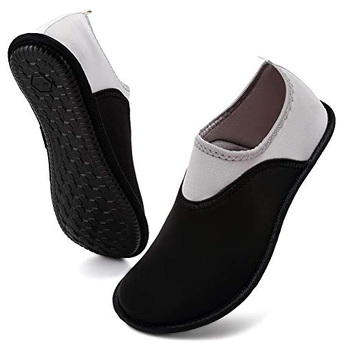 VIFUUR Womens Mens Water Shoes Athletic Aqua Shoes Slip-on for Outdoor Beach Swim Yoga Black/Grey 38/39
