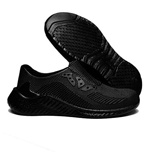 lozoye Professional Chef Clogs for Men Non Slip Oil Water Resistant Food Service Work Sneakers Comfort Casual Shoes (Numeric_9) Black