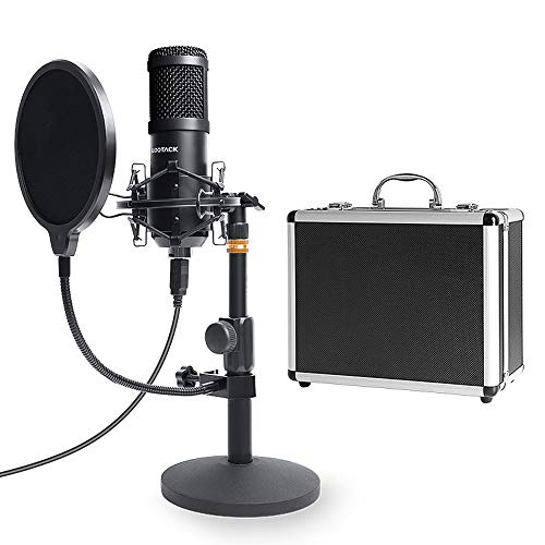USB Streaming Podcast PC Microphone with Aluminum Storage Case,SUDOTACK Professional 96KHZ/24Bit Studio Cardioid Condenser Mic Kit with Sound Card Desktop Stand Shock Mount for Skype Youtuber Gaming