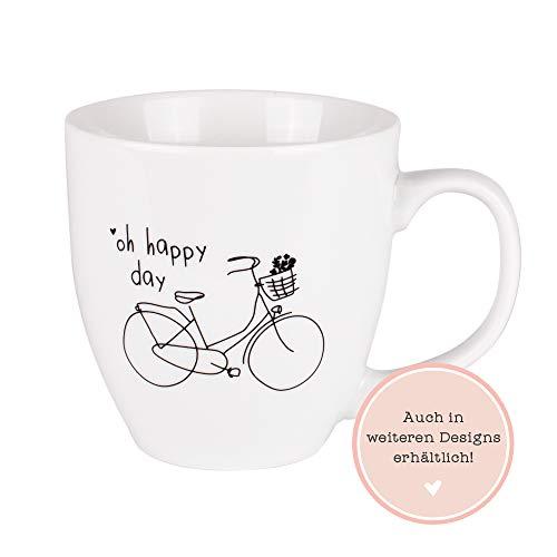 Odernichtoderdoch Jumbo-Tasse   Oh Happy Day   0,4 Liter Volumen - Porzellan - weiß