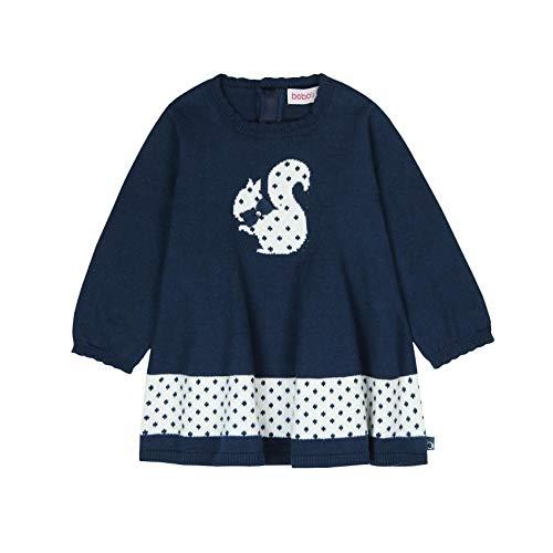 Boboli Mädchen Strick-Kleid Eichhörnchen blau Gr. 80