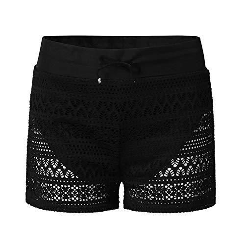 Damen Schwarze Spitzen Shorts Aushöhlen Boxershorts Sexy heiße Hosen Badehose Bund Badeanzug Bottom Boy Shorts Schwimmen Höschen Bikinihöschen(Schwarz,L)