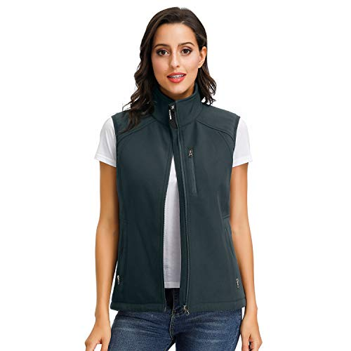 Women's Grey Waistcoat Stand Collar Weighted Waterproof Outwear Vest For Outdoor, Travel, Fishing,Casual Charcoal-XS