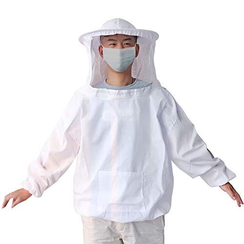 M.Z.A - Chaqueta de apicultura con velo redondo para protección de la abeja de miel, profesional, ligera, para hombre y mujer, color blanco