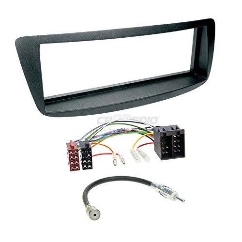 Carmedio Toyota Aygo ab 05 1-DIN Autoradio Einbauset in original Plug&Play Qualität mit Antennenadapter Radioanschlusskabel Zubehör und Radioblende Einbaurahmen schwarz