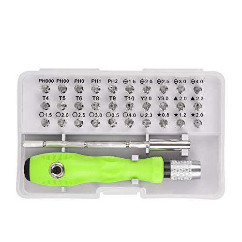 Schraubendreher Sets 32-in-1, Mini Feinmechanik Werkzeug Set mit 3-stufigen verstellbaren Stange und magnetisierbare Stecknuss für Smartphone, Laptop, Tablet, Brillen, Uhr, Brille, Kamera