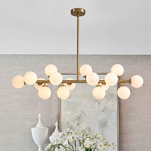 APBEAMLighting Linear Gold Chandelier Milky White Glass Globe Lampshade Mid-Century Metal Pendant Lighting Fixture for Kitchen Island Dining Room Bedroom 16 Lights