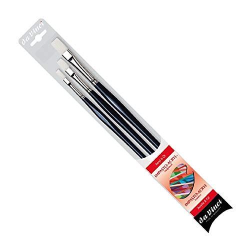 DaVinci ESPACE BEAUX ARTS da Vinci Série 7105 Acrylique Brosse, Poils, Bleu,Set 3 pcs NO, 4,8, 12. Made in Germany