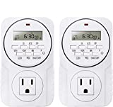 Smart Digital Programmable Outlet Timer, 7 Day Heavy Duty, with LCD Display for Lights Lamps, Set Up to 8 On/Off Programs for Plug in Electrical Outlets, 2 Pack