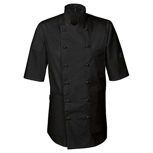 GREIFF Herren Kochjacke Halbarm mit Brustleistentasche | Regular Fit | Cuisine Premium | Style 5567 | Schwarz | Gr: XXL