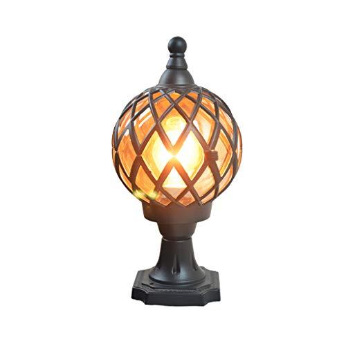 Applique Murale extérieure Lampe Frontale Lampe de Mur extérieur extérieur étanche Ronde Pilier Lampe Porte Lampe Cour Porte Colonne Lampe LED (Color : Black, Size : 20 * 20 * 45cm)