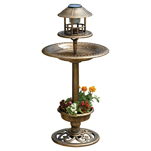 SOLAR BIRD HOTEL GARDEN BIRDS FEEDER & BATH WITH LIGHT ORNAMENTAL TABLE STATION