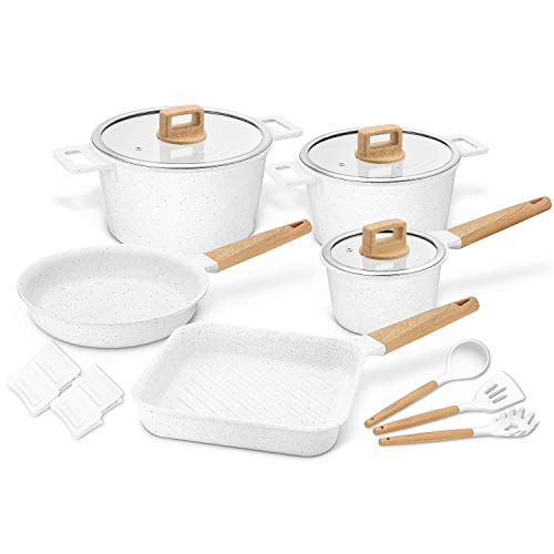 Cookware Set Non-Stick Scratch Resistant 100% PFOA Free Induction Aluminum Pots and Pans Set with...