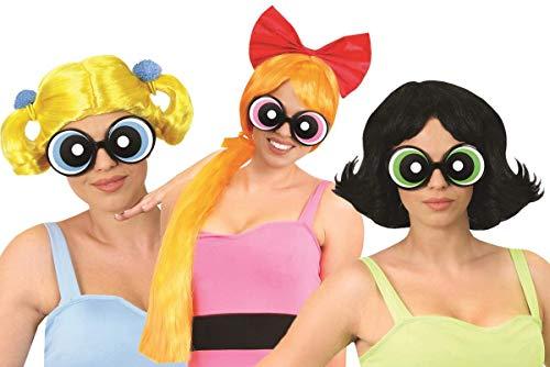 I LOVE FANCY DRESS LTD OFFIZIELL Lizenziertes Powerpuff Girls Buttercup KOSTÜMZUBEHÖRSET. IKONISCHE 90ER Jahre ZEICHENTRICKFIGUR Haar & BRILLENZUBEHÖR. INKL. GRÜNE Buttercup Brille UND PERÜCKE