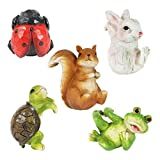 """Exhart Animal Flower Pot Hugger Decoration for Patio (Set of 5) 