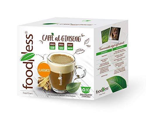 FoodNess - 50 Capsule + 10 omaggio Caffè al ginseng classico compatibile con sistema Dolce Gusto senza glutine, lattosio e zuccheri aggiunti(tot. 60 capsule)