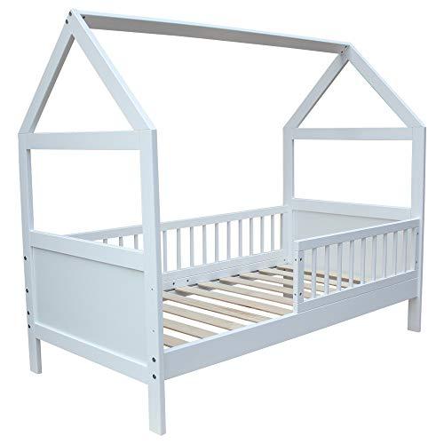 Kinderbett Juniorbett Bett Haus 140x70cm massiv weiss umbaubar
