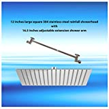 12 inches 304 stainless steel large square rainfall showerhead with 12.5 inches adjustable