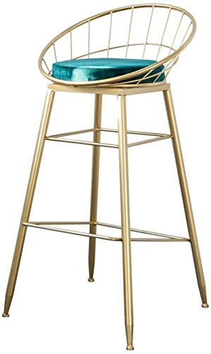 Dongy - Sedia da bar con schienale e poggiapiedi per cucina, con cuscino in velluto verde moderno, sedia da pranzo   sgabello da bar industriale gambe in metallo   struttura dorata (dimensioni: 65 cm)