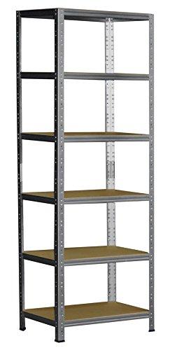 Schwerlastregal 180 x 60 x 50 cm mit 6 Böden Stecksystem aus Metall verzinkt: Metallregal geeignet als Kellerregal, Lagerregal, Archivregal, Ordnerregal, Werkstattregal