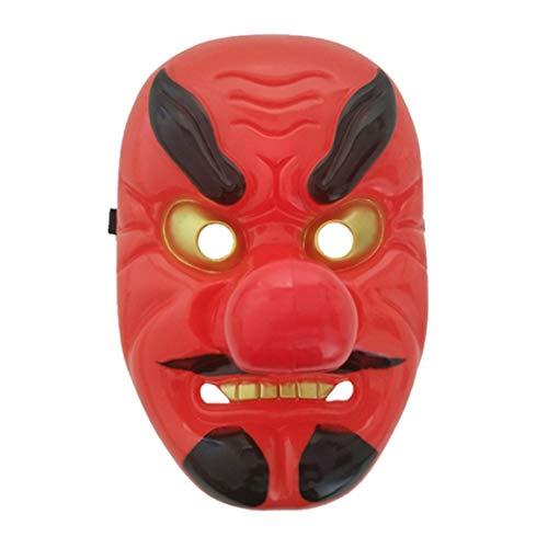 Fantasyworld Red Plastic Tengu Long Nose Mask Horror Japanese Warrior Mask Halloween Festive Holiday Cosplay Mask Kit Party Supplies