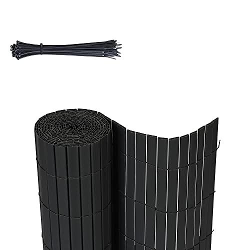 Sekey PVC Sichtschutzmatte Quadratische Röhre Sichtschutzzaun Verstärkt Starke Privatsphäre für Garten, Balkon und Terrasse, mit Strukturierte Oberfläche, mit Kabelbindern, 80 x 500 cm, Anthrazit