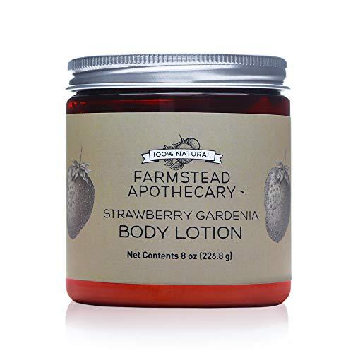 Farmstead Apothecary 100% Natural Body Lotion with Organic Safflower Oil, Organic Sunflower Oil & Organic Vitamin E Oil, 8 oz (Strawberry Gardenia)