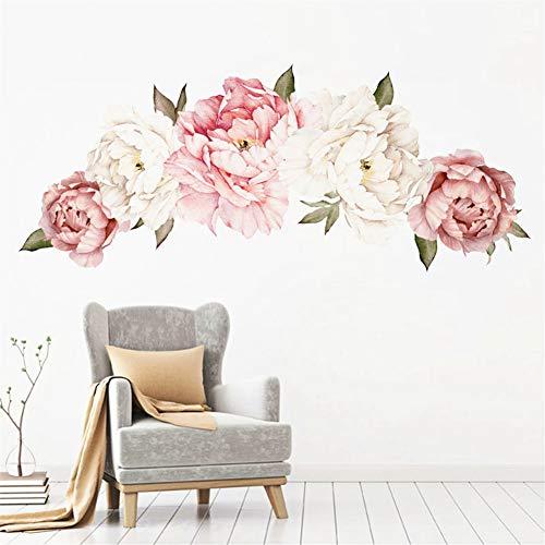LucaSng DIY Groß Wandaufkleber Wandtattoo, Wandsticker Pfingstrose Rose Blumen Wasserdicht Wandaufkleber Wanddeko für Wohnzimmer Schlafzimmer