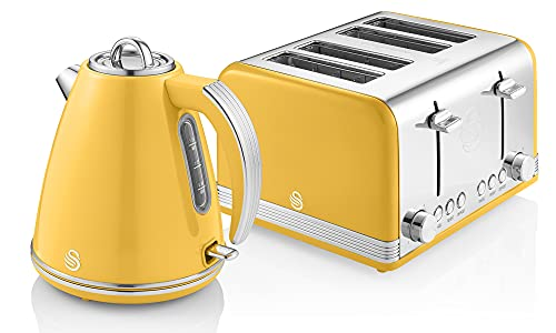 Swan Retro Jug Kettle and 4-Slice Toaster Set in Yellow, Vintage Style, Chrome Details, Variety of Settings, STP7041YELN