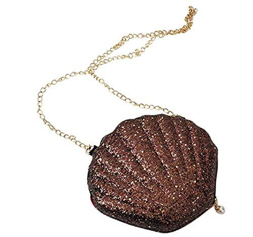 yiguanguan Damen Handtasche Muschel Schultertasche Mädchen Tasche Abendtasche aus Pailletten Geschenk Dekoration tragbar kleine Brieftasche, braun, S