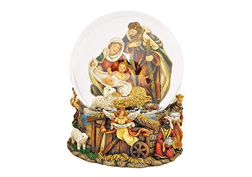 Wurm Spieluhr Schneekugel Krippenszene aus Poly, 21 cm Weihnachten Heilige Familie Christkind Maria Josef