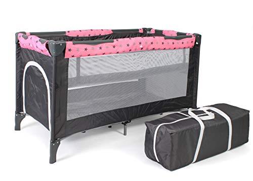 Chic 4 Baby 340 83 Reisebett LUXUS mit Einhängeboden für Neugeborene und Tragetasche, Sternchen grau