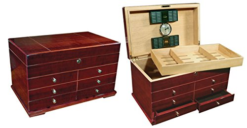 Prestige Import Group Landmark Large Chest Style Cigar Humidor with Drawers - Holds Up to 300 Capacity - Color: Cherry Finish