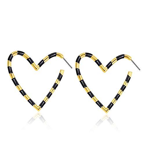 GNOCE Gnoce Herzform Creolen Farbstreifen Ohrringe aus Legierung Gelbgold Tone Plated Fashion Ohrringe Geschenk für Frauen Mädchen (Schwarz + Gold)