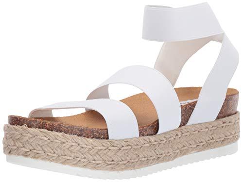 Steve Madden Women's Kimmie Wedge Sandal, White, 7 M US