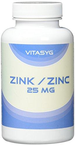 Vitasyg Zink 25mg - 365 Tabletten - Zink Gluconat- 12 Monatsversorgung - nur eine Tablette täglich, 1er Pack (1 x 183 g)