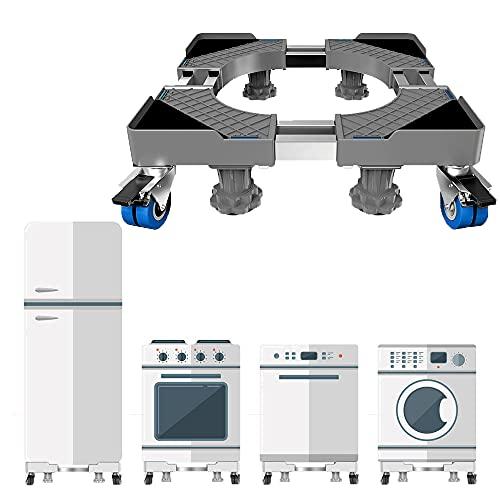 Base de lavadora móvil ajustable, Carga de apoyo 300kg, Base lavadora con 4 ruedas de bloqueo, Antivibraciones y reducción de ruido para frigorífico/aire acondicionado/secadora, Gris