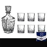 Juego de 7 decantadores de whisky premium con tapón adornado y 6 exquisitos vasos de cóctel de 220 ml para hombres (G 6 tazas por bote [caja de color])