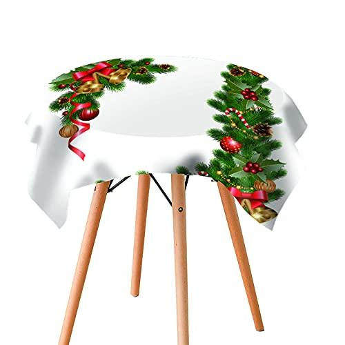 Mantel De Navidad Mantel De Flores De Hoja Verde Rojo Rectángulo Redondo Mantel De Mesa De Café Resistente A La Temperatura De Aislamiento Térmico Grueso Adecuado para El Hogar De Mesa Redonda